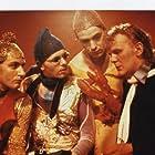 Jakob Magnússon, Egill Ólafsson, Eggert Þorleifsson, and Valgeir Guðjónsson in Með allt á hreinu (1982)