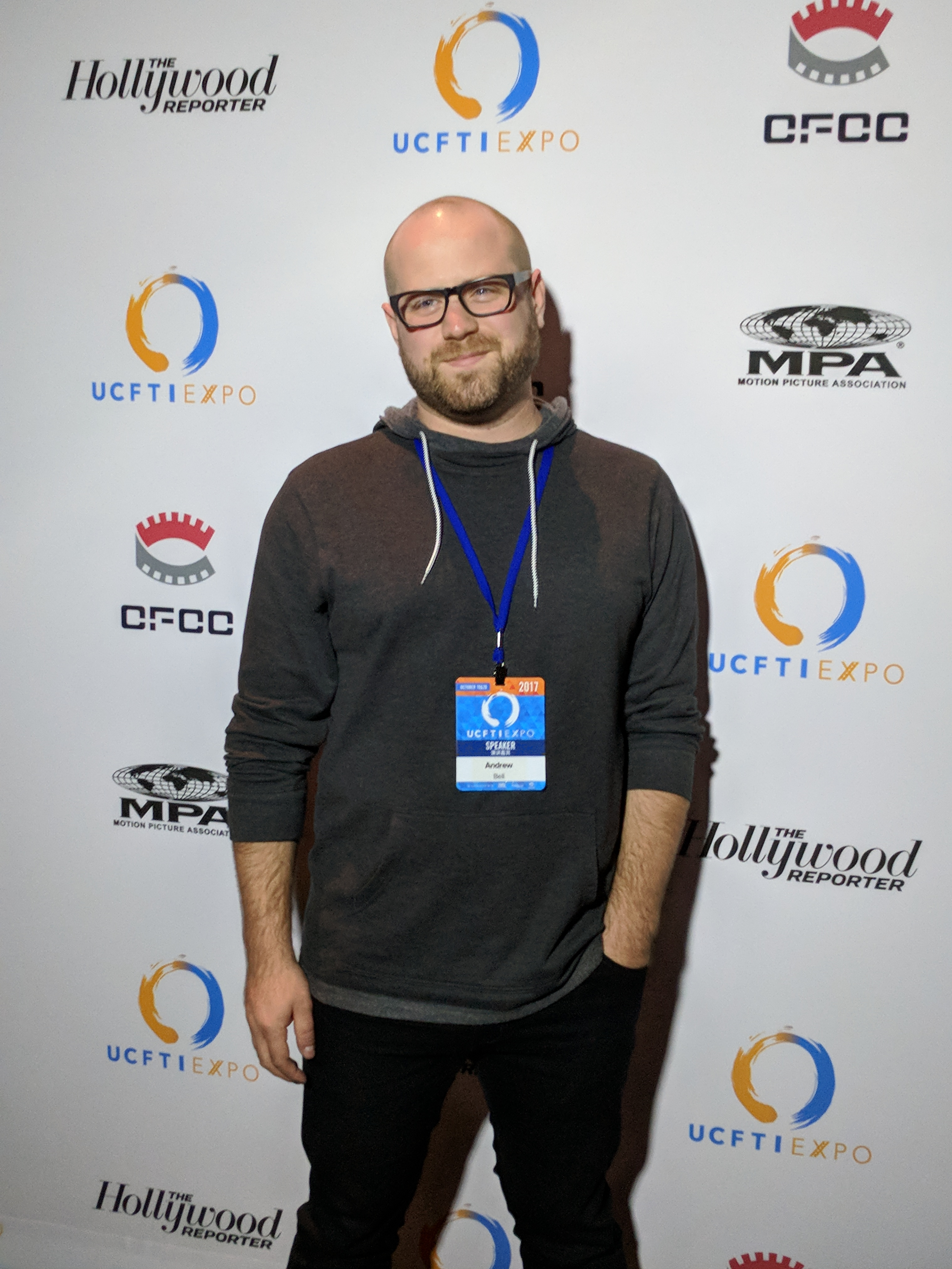 Composer Andrew Scott Bell at the U.S. China Film & Television Industry (UCFTI) Expo in Los Angeles.