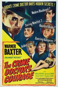 Warner Baxter, Hillary Brooke, Lloyd Corrigan, Jerome Cowan, Stephen Crane, Emory Parnell, and Mark Roberts in The Crime Doctor's Courage (1945)