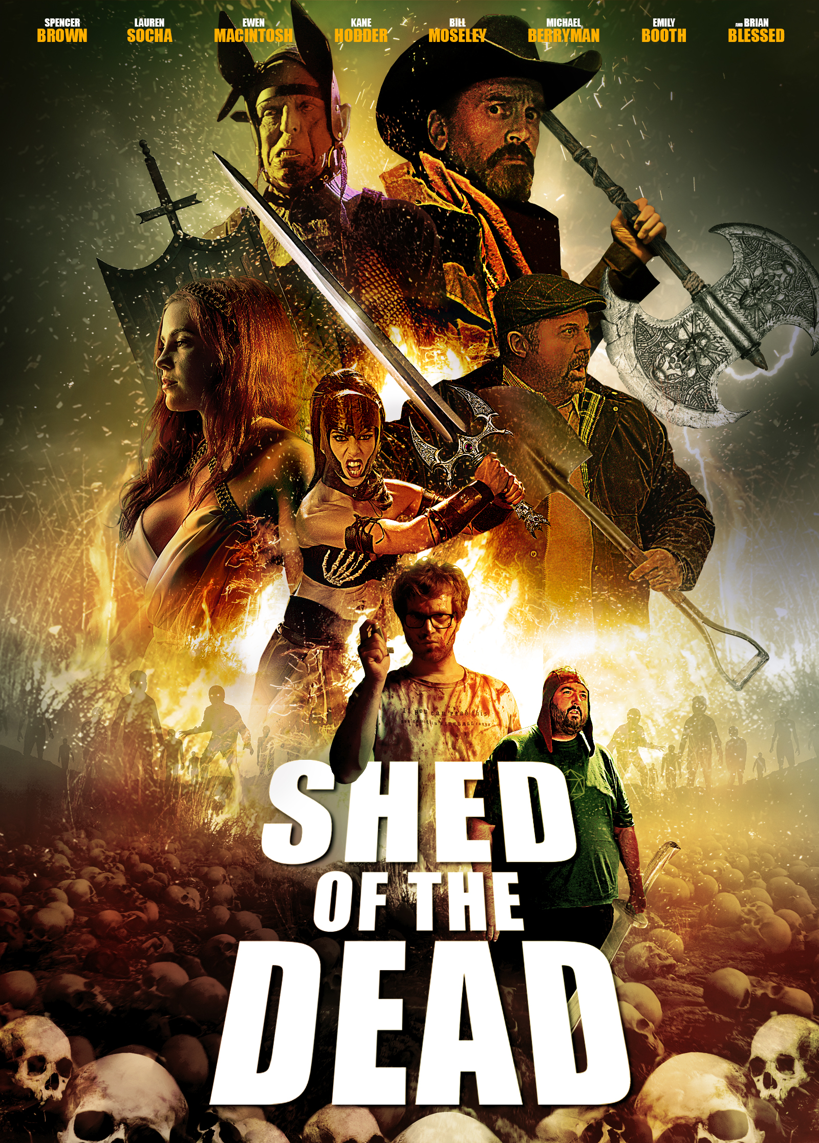 Michael Berryman, Emily Booth, Spencer Brown, Kane Hodder, Bill Moseley, and Ewen MacIntosh in Shed of the Dead (2019)