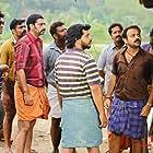 Kunchacko Boban, Saiju Kurup, Sreejith Ravi, Aneesh Menon, Shereej K. Basheer, and Nandhan Unni in Valliyum Thetti Pulliyum Thetti (2016)