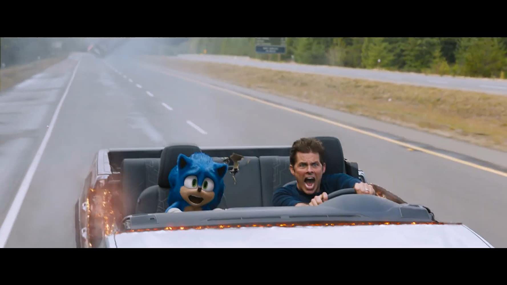 James Marsden and Ben Schwartz in Sonic the Hedgehog (2020)