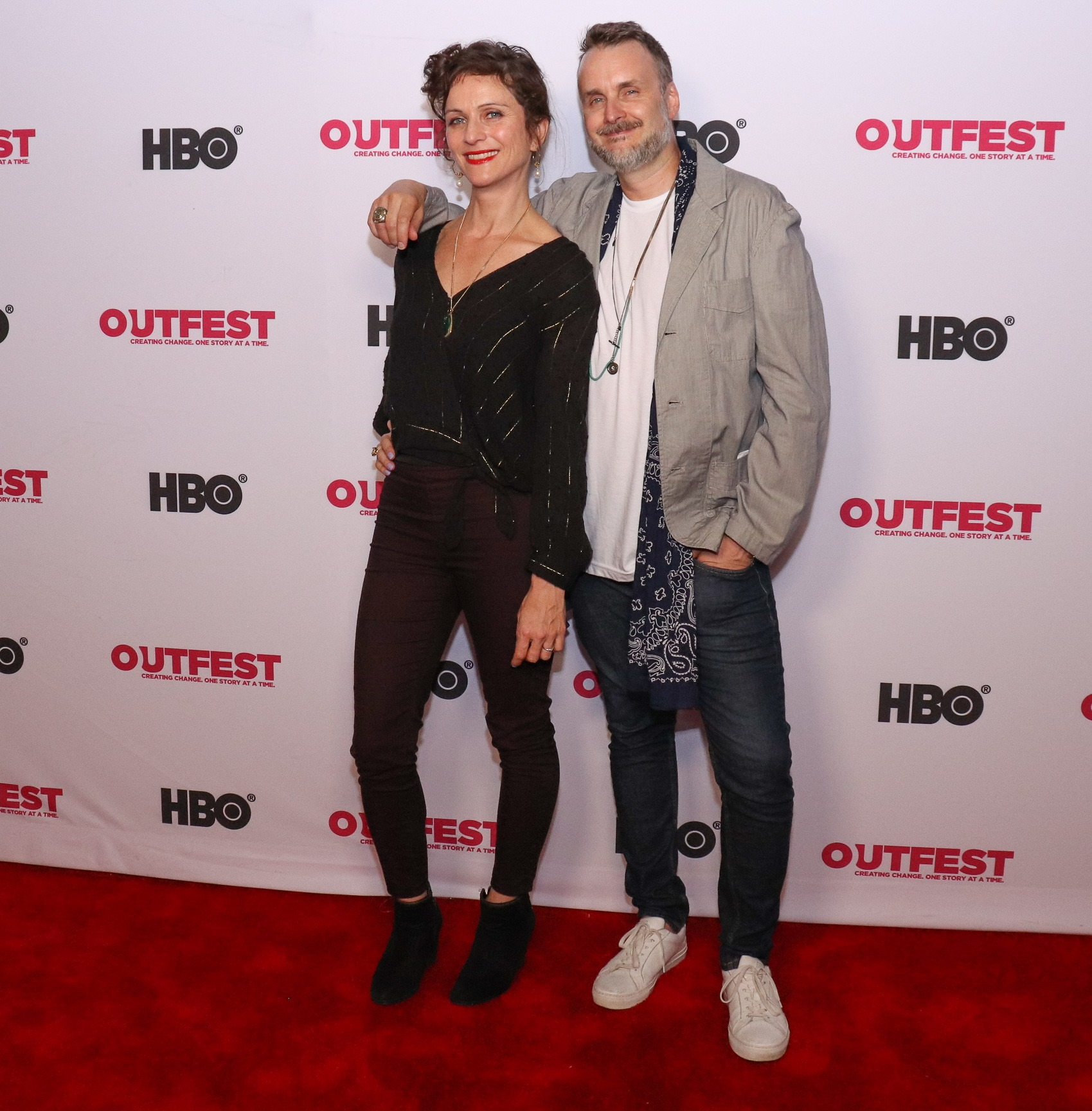 """with editor Claire Didier at """"Sid & Judy"""" LA premiere at Outfest 2019"""