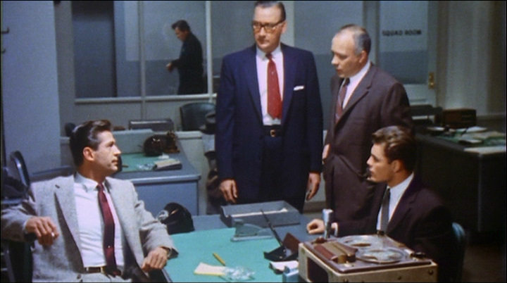 Edward Andrews, George Nader, Edward Platt, and John Saxon in The Unguarded Moment (1956)