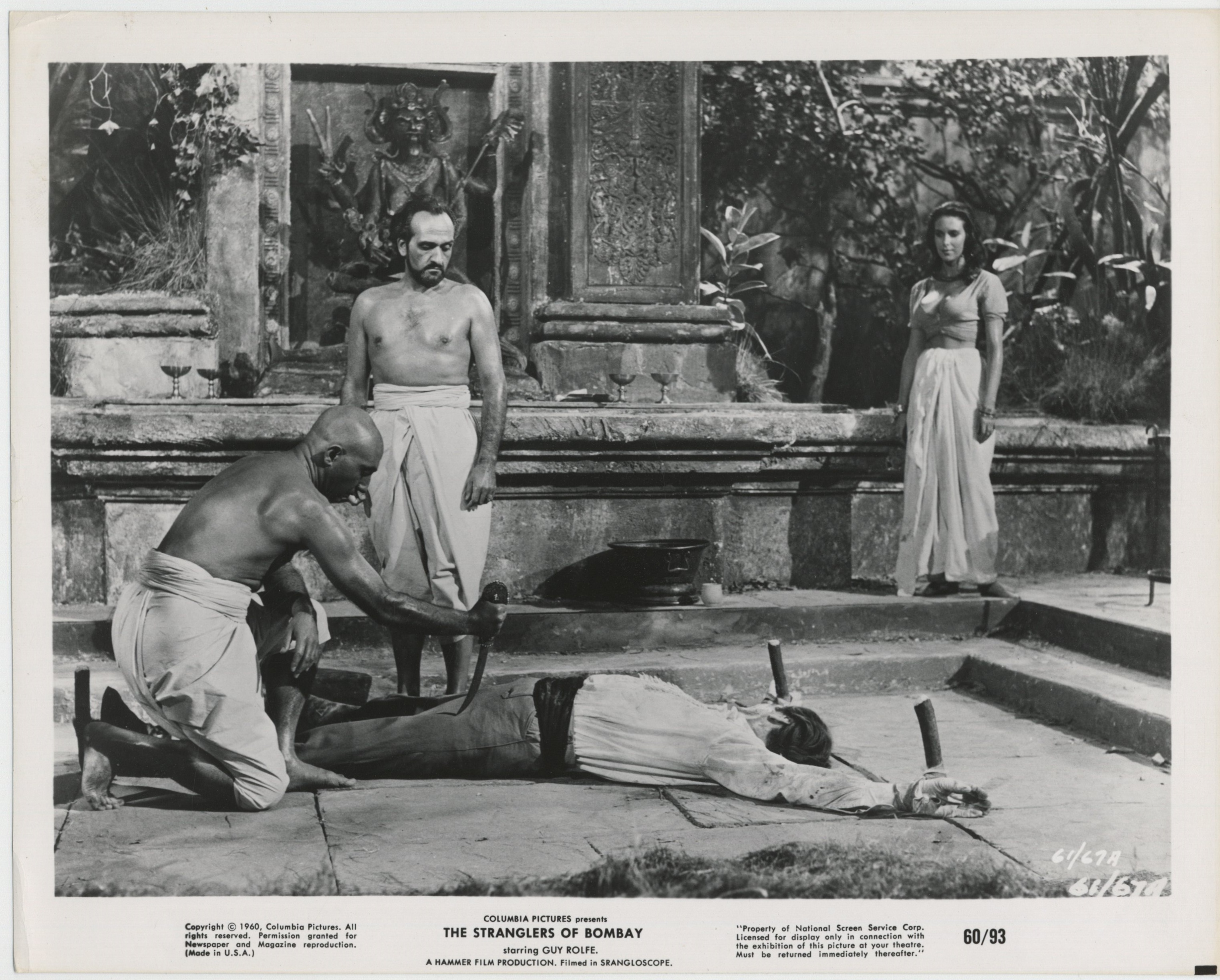 Roger Delgado, Marie Devereux, George Pastell, and Guy Rolfe in The Stranglers of Bombay (1959)