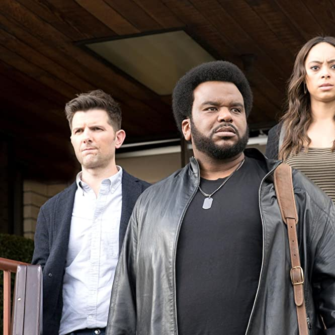 Adam Scott, Craig Robinson, and Amber Stevens West in Ghosted (2017)