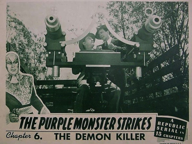 Bud Geary and Dennis Moore in The Purple Monster Strikes (1945)