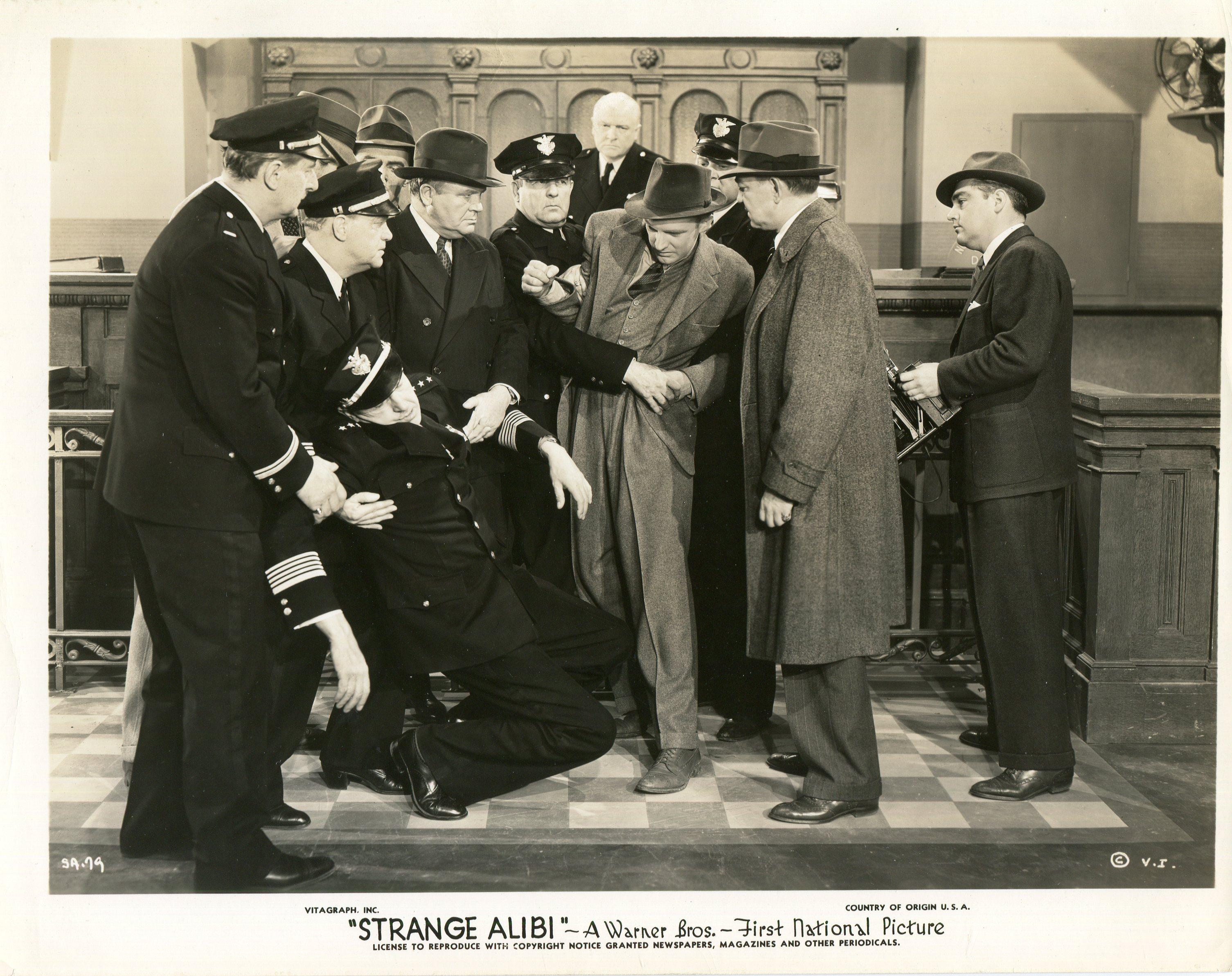 Stanley Andrews, Wade Boteler, Cliff Clark, Arthur Kennedy, Frank Wilcox, and Charles C. Wilson in Strange Alibi (1941)
