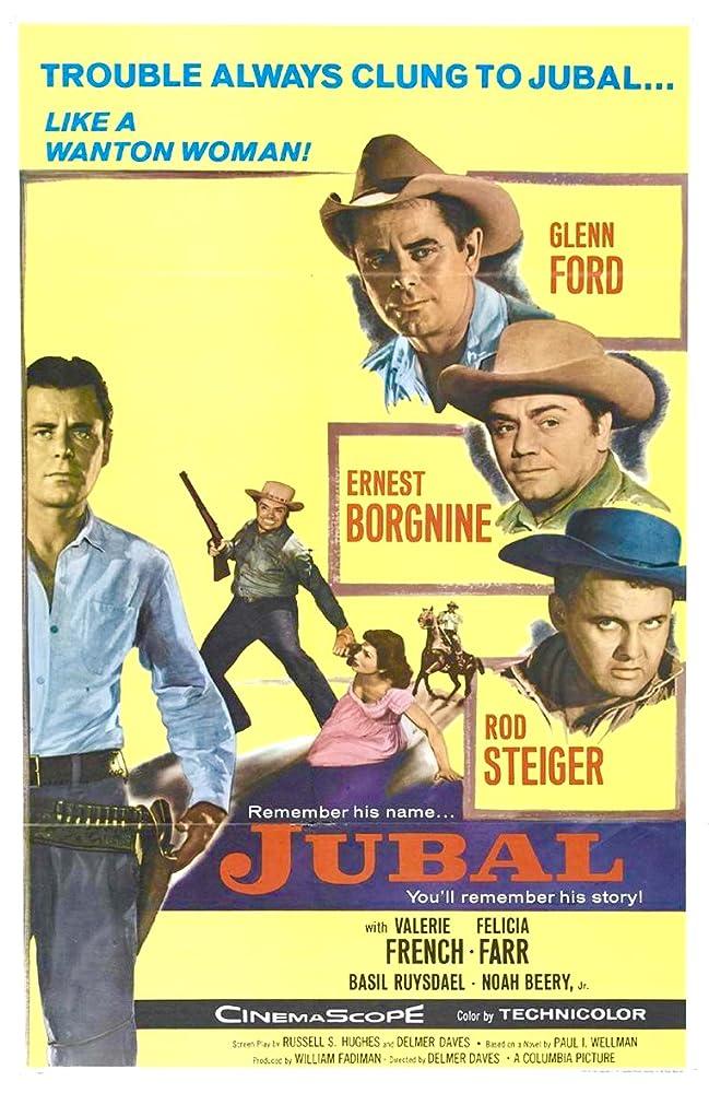 Ernest Borgnine, Glenn Ford, Rod Steiger, and Valerie French in Jubal (1956)