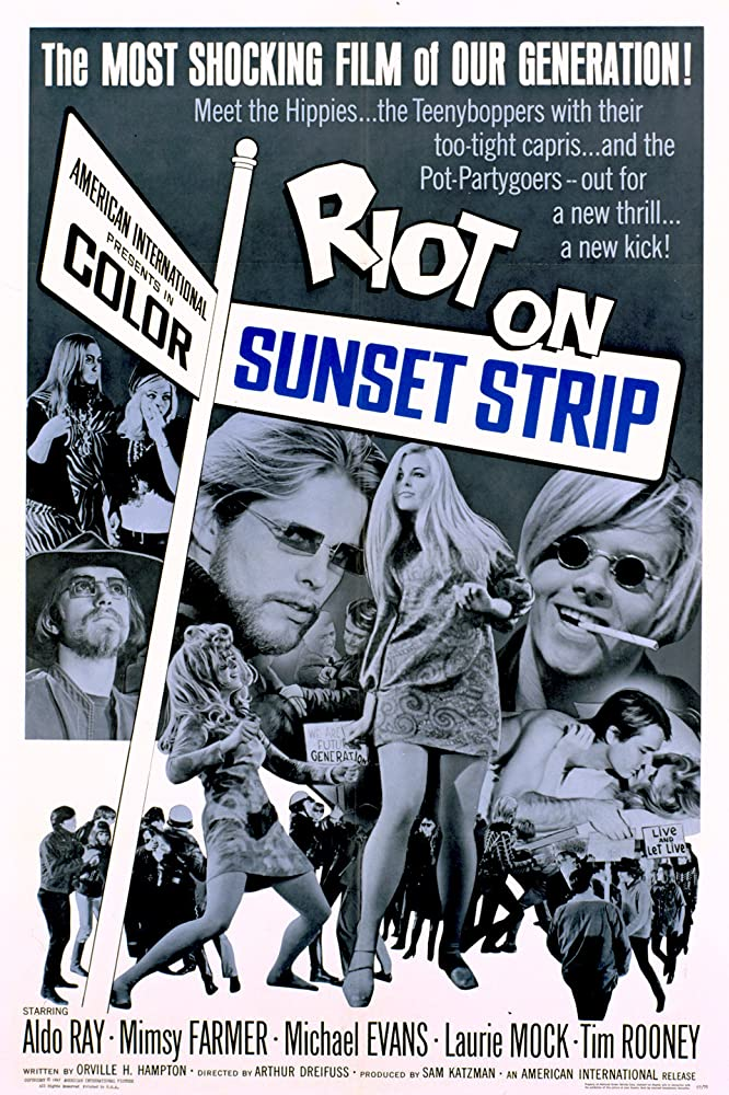 Mimsy Farmer, Michael Evans, Schuyler Hayden, Laurie Mock, Hortense Petra, and Tim Rooney in Riot on Sunset Strip (1967)
