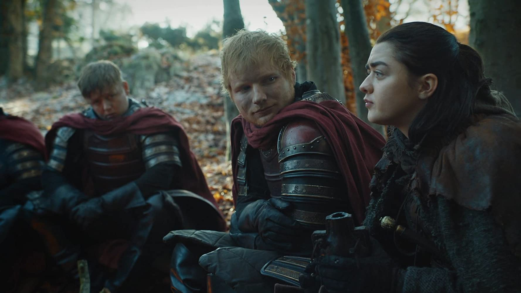 Thomas Turgoose, Ed Sheeran, and Maisie Williams in Game of Thrones (2011)