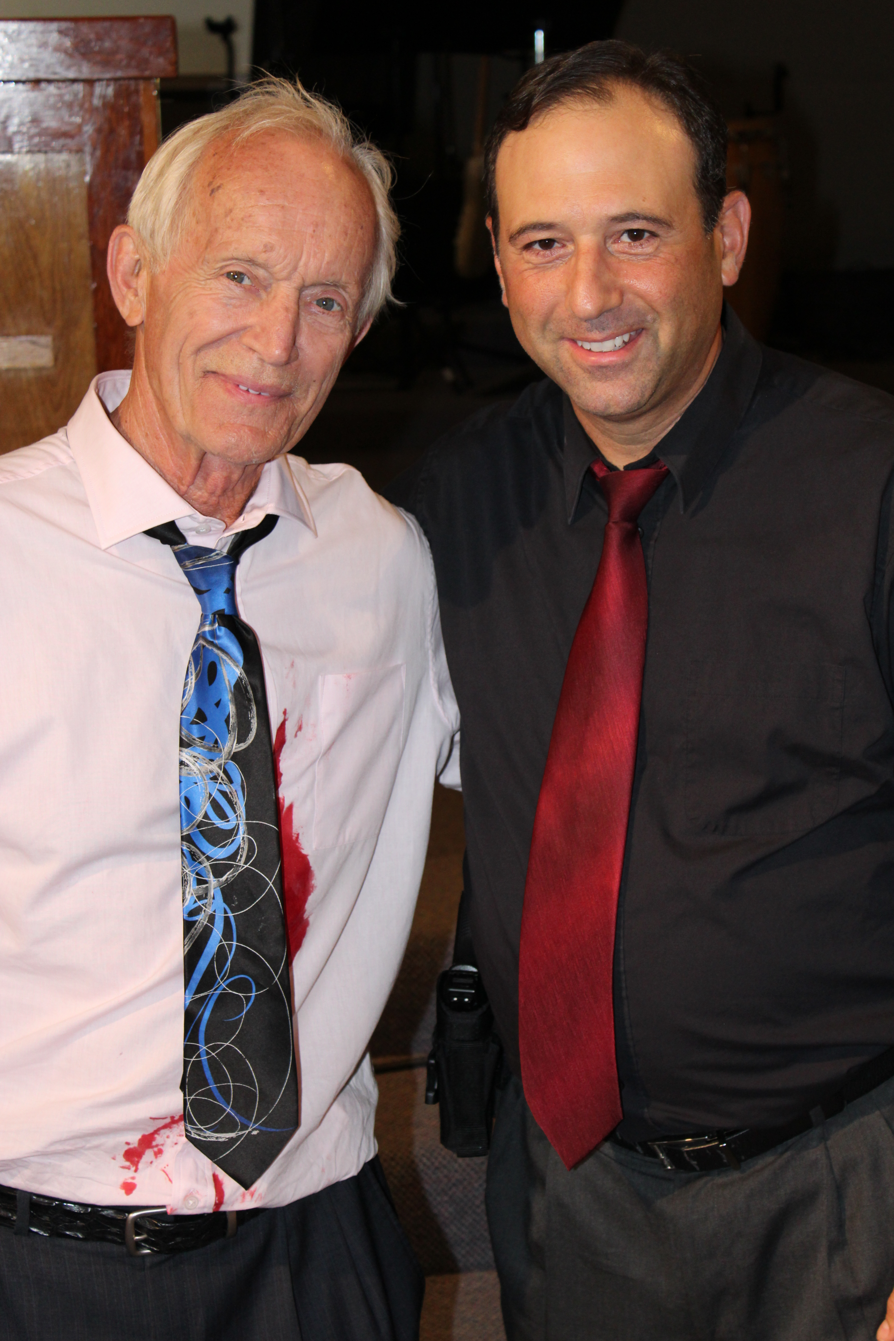 """Rob Sciglimpaglia and Lance Henriksen from set of motion picture """"ONE"""""""