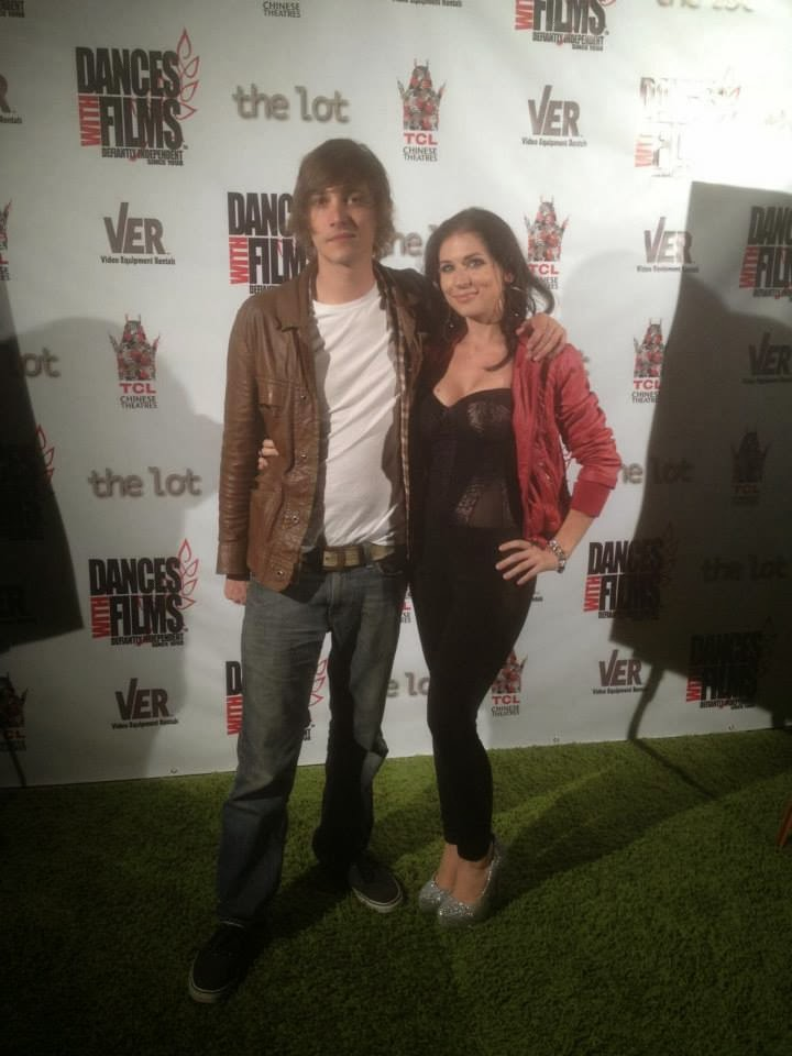 Actress Victoria Paege with co-star Ryan Donowho at the premiere of 'Salvation' at Dances with Films in Los Angeles.