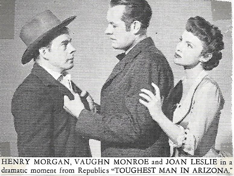 Joan Leslie, Vaughn Monroe, and Harry Morgan in Toughest Man in Arizona (1952)