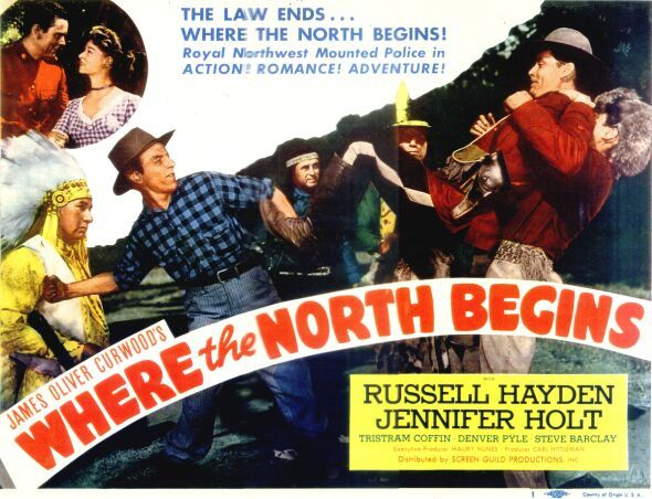 Chris Willow Bird, Tristram Coffin, Russell Hayden, Jennifer Holt, Artie Ortego, and Denver Pyle in Where the North Begins (1947)