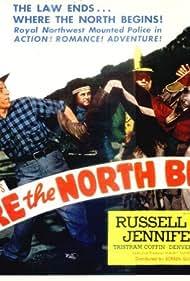 Tristram Coffin, Russell Hayden, Jennifer Holt, and Denver Pyle in Where the North Begins (1947)