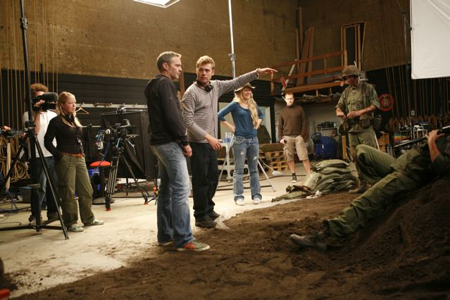 """Director Rasmus Heide with cinematographer Eric Kress on the set of """"Take the Trash"""""""