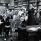 Herbert Marshall, Steve Allen, Elisha Cook Jr., Norman Grabowski, Sheilah Graham, Ziva Rodann, and Earl Wilson in College Confidential (1960)