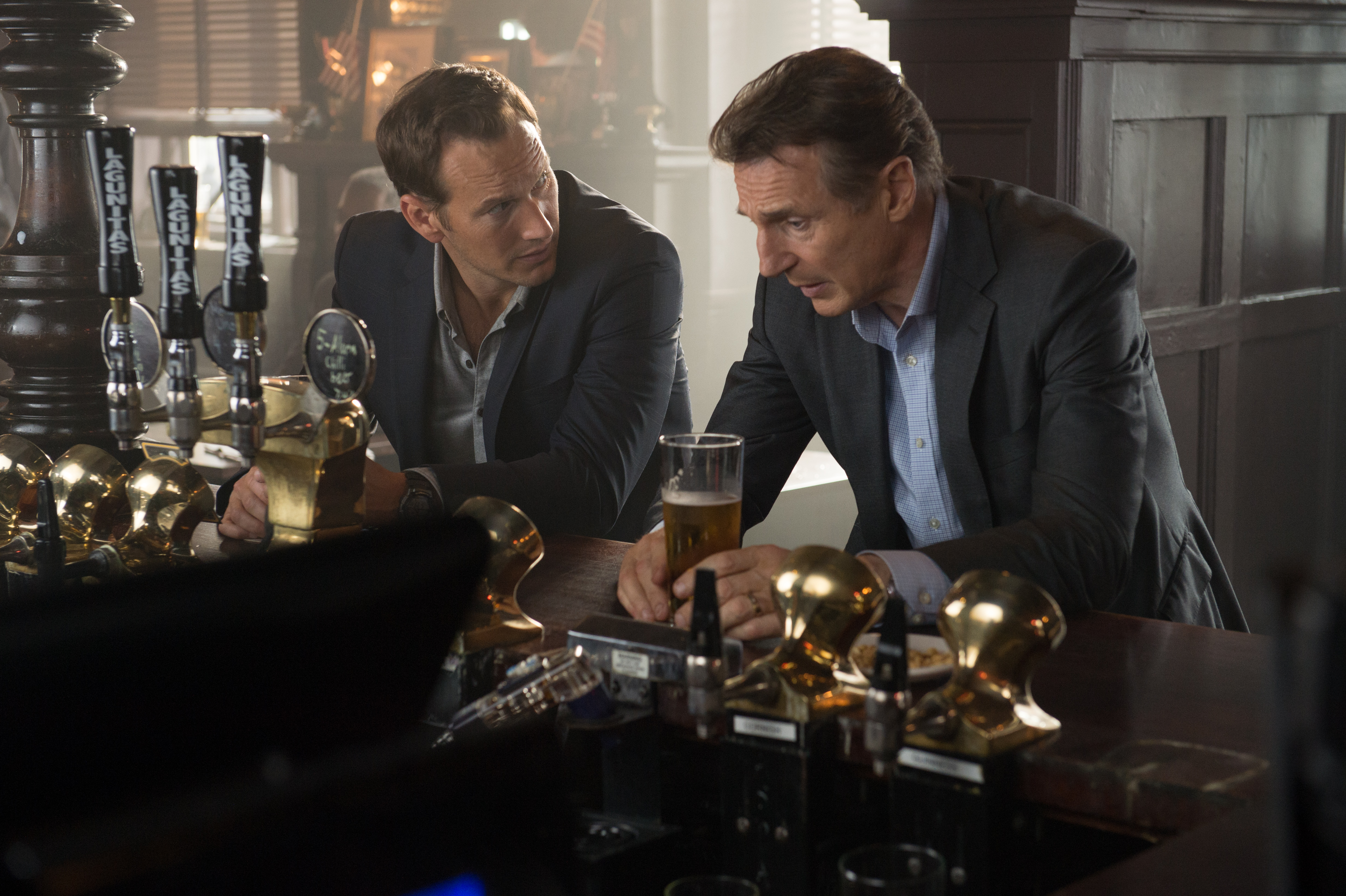 Liam Neeson and Patrick Wilson in The Commuter (2018)