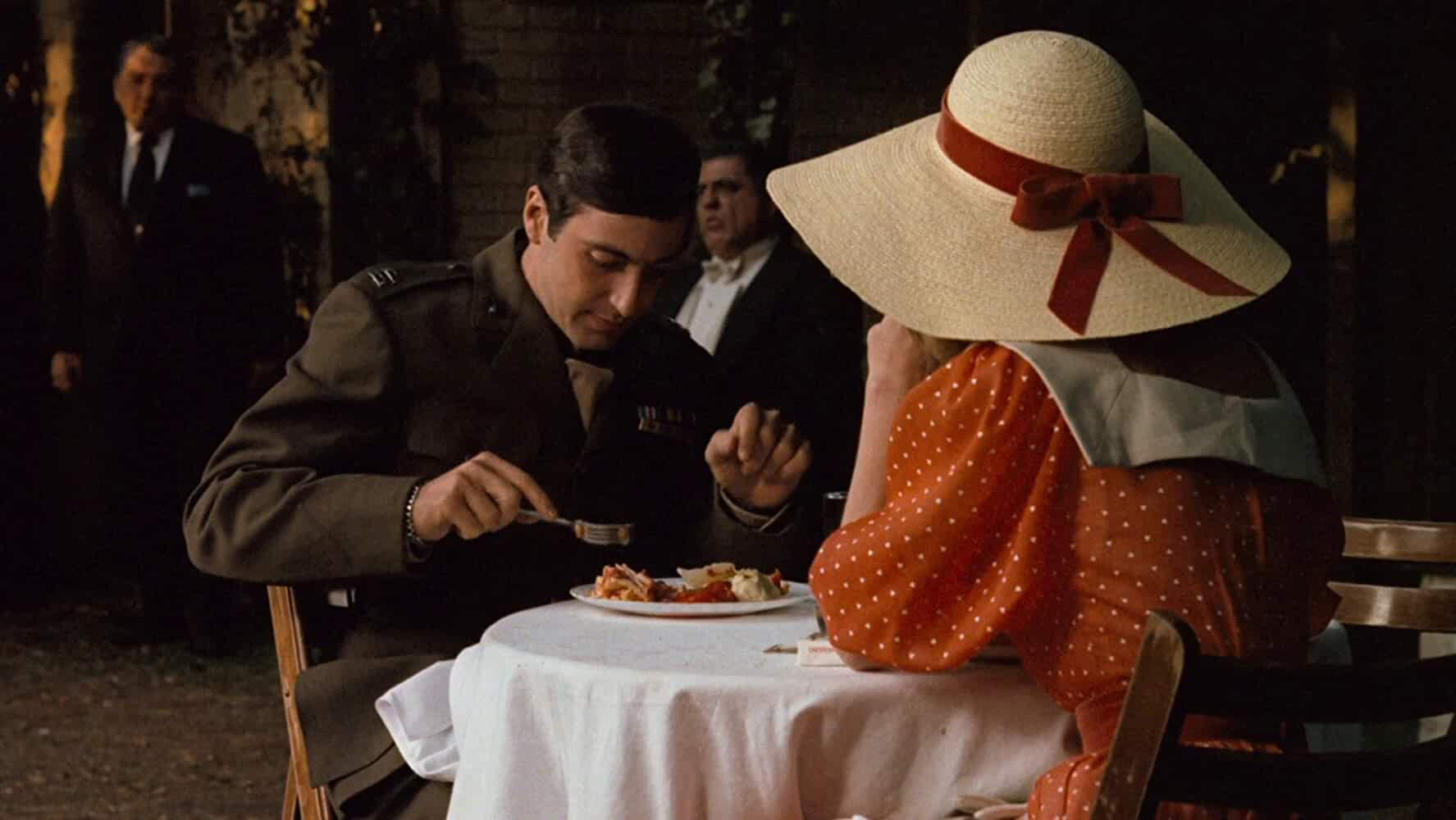 Al Pacino Diane Keaton and Lenny Montana in The Godfather 1972