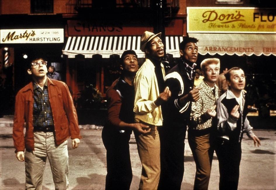 Rick Moranis, Danny Cunningham, Danny John-Jules, Gary Palmer, Paul Swaby, and Mak Wilson in Little Shop of Horrors (1986)