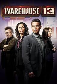 Saul Rubinek, Eddie McClintock, Joanne Kelly, and Allison Scagliotti in Warehouse 13 (2009)
