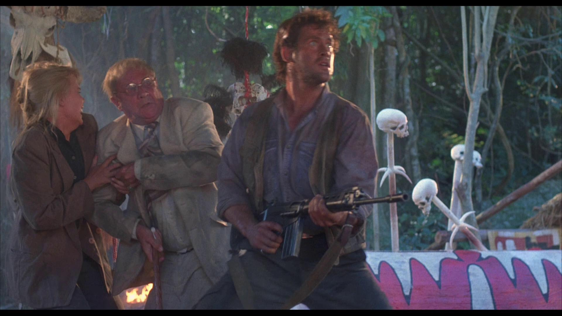 Donald Pleasence, Michael Dudikoff, and Sarah Maur Thorp in River of Death (1989)