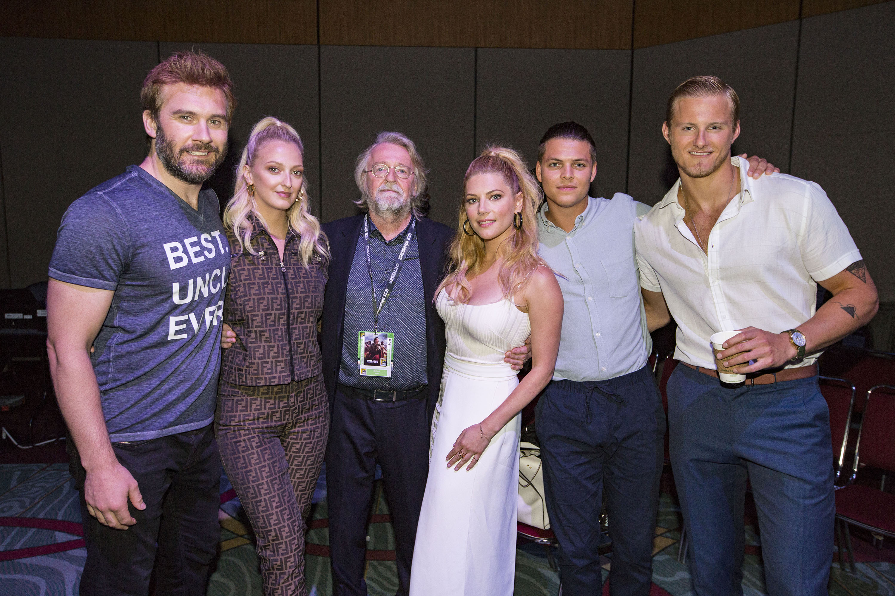 Michael Hirst, Katheryn Winnick, Alexander Ludwig, Clive Standen, and Georgia Hirst at an event for Vikings (2013)