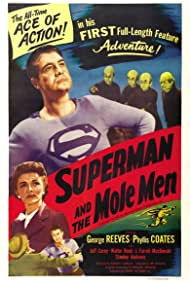 George Reeves, John T. Bambury, Phyllis Coates, Billy Curtis, Jerry Maren, and Johnny Roventini in Superman and the Mole-Men (1951)