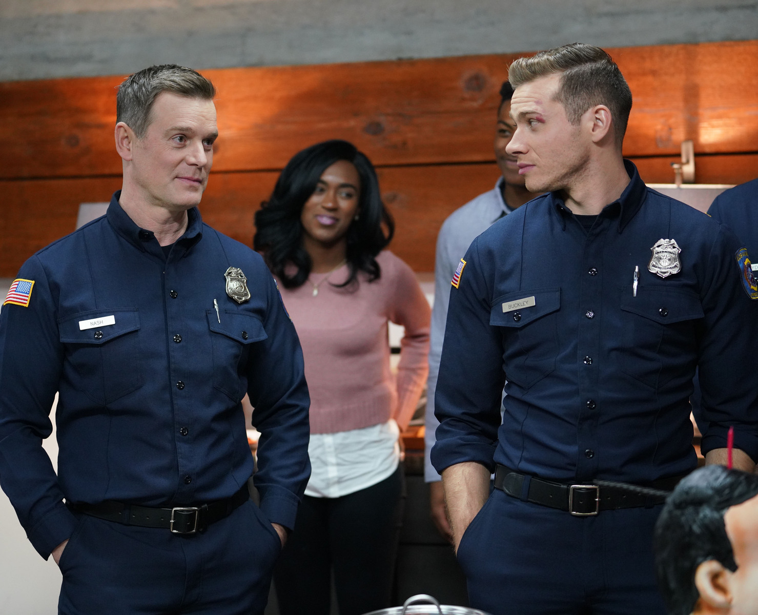 Peter Krause and Oliver Stark in 9-1-1 (2018)