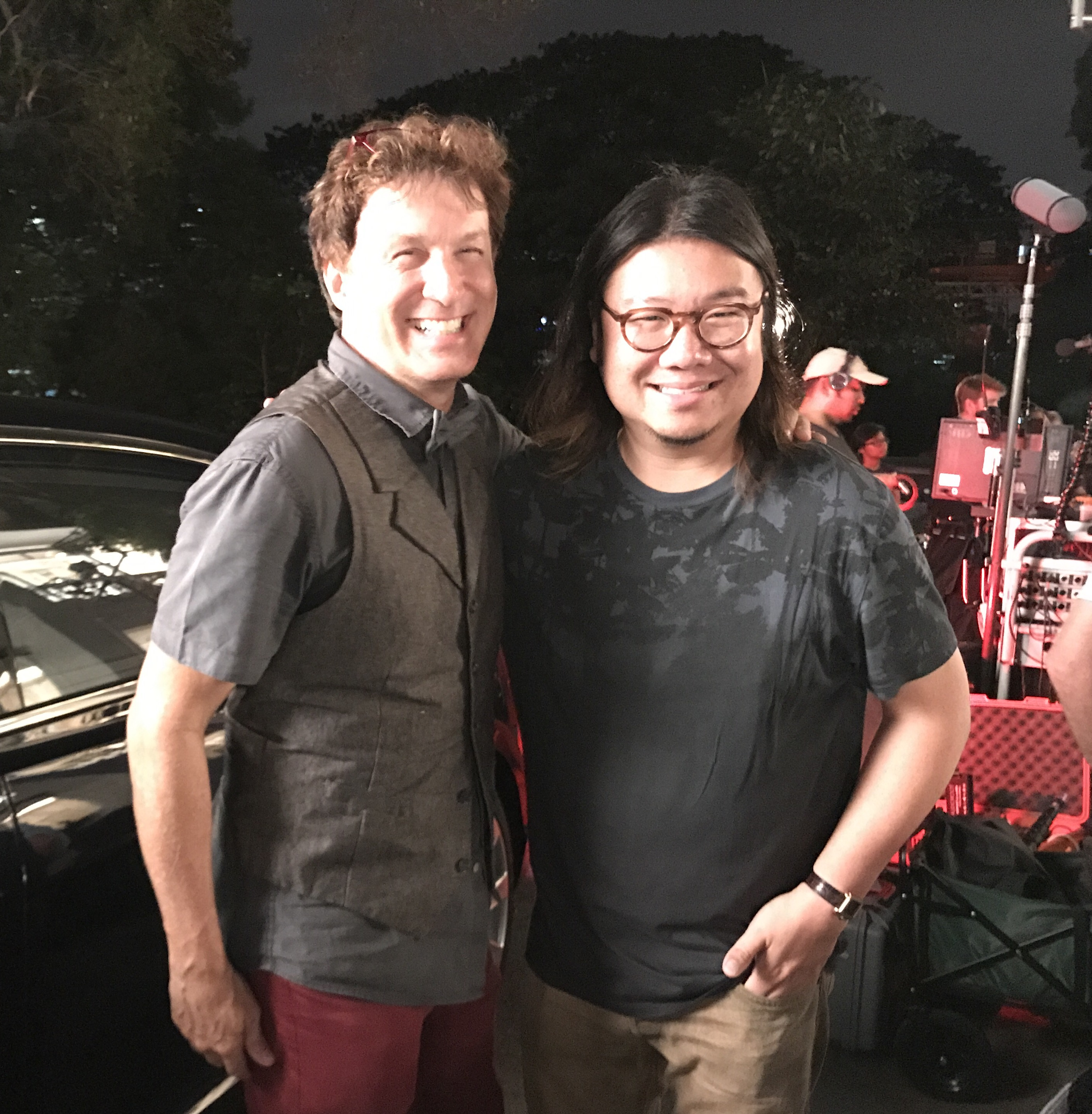 Nelson Coates & Crazy Rich Asians author Kevin Kwan on the set in Kuala Lumpur