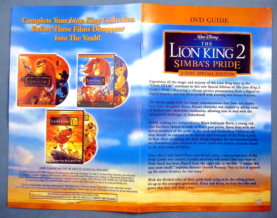 The Lion King 2 Simba S Pride 1998