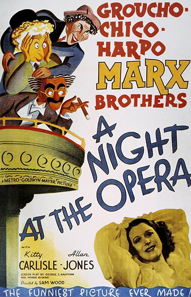 Groucho Marx, Kitty Carlisle, Allan Jones, Chico Marx, and Harpo Marx in A Night at the Opera (1935)
