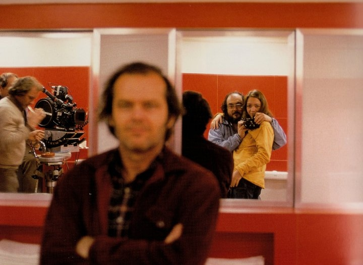 Stanley Kubrick, Jack Nicholson, John Alcott, and Vivian Kubrick in The Shining (1980)