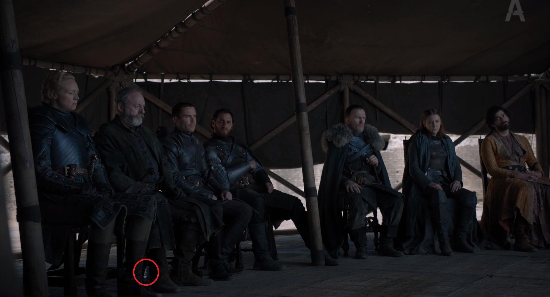 Liam Cunningham, Joe Dempsie, Gemma Whelan, Michael Benbaruk, Gwendoline Christie, Toby Osmond, and Niall Bishop in Game of Thrones (2011)