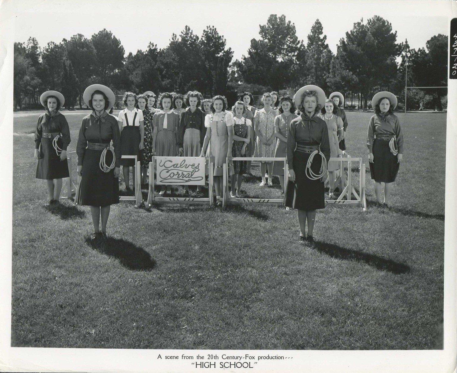 Gwen Brian, Betty Jean Hainey, Carmencita Johnson, Dorothy Moore, Lillian Porter, Jane Withers, and Doris Brian in High School (1940)