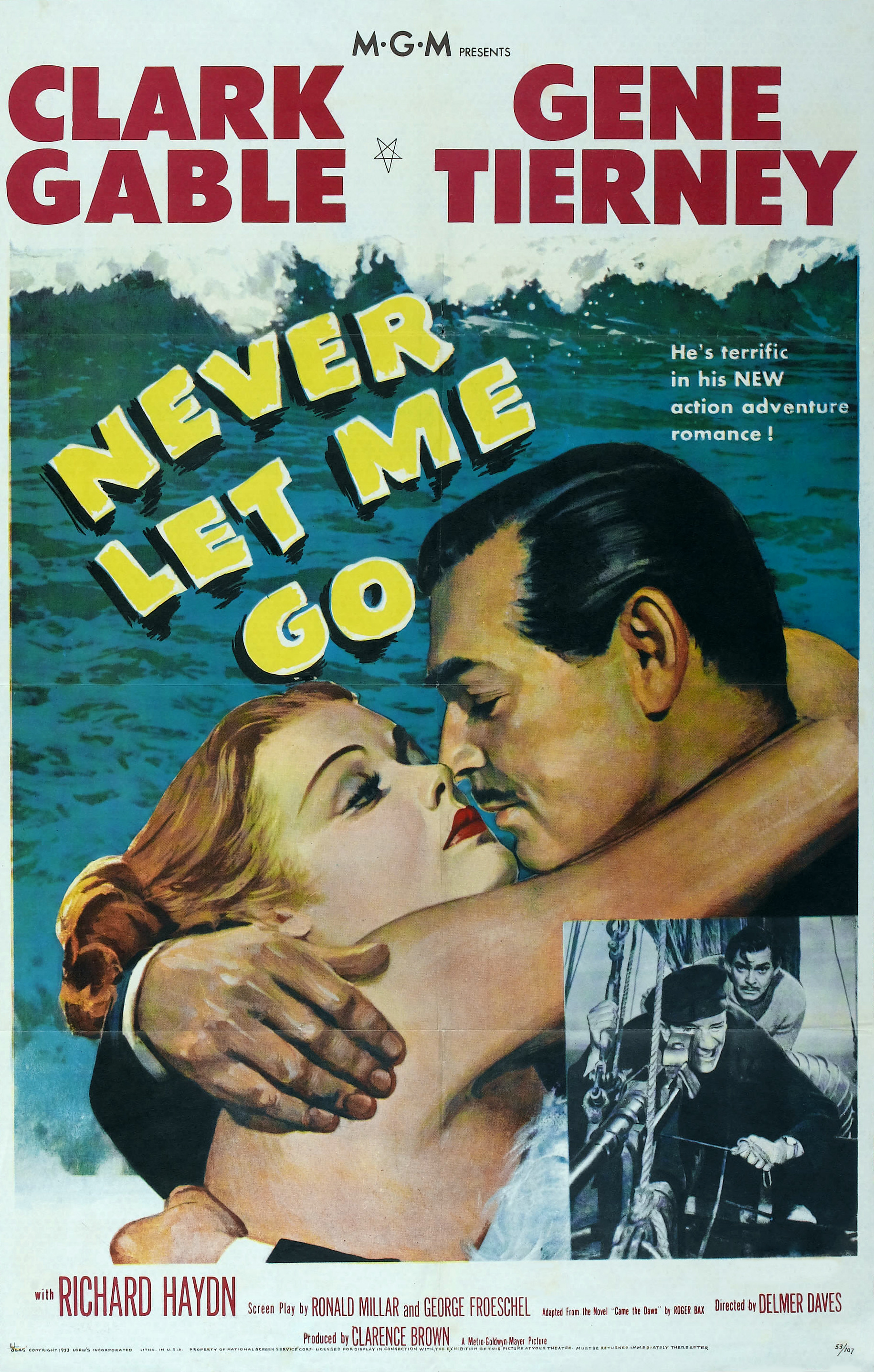 Clark Gable, Gene Tierney, and Richard Haydn in Never Let Me Go (1953)