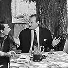Labros Konstadaras, Giota Soimoiri, and Haris Panayotou in Yparhei kai filotimo (1965)