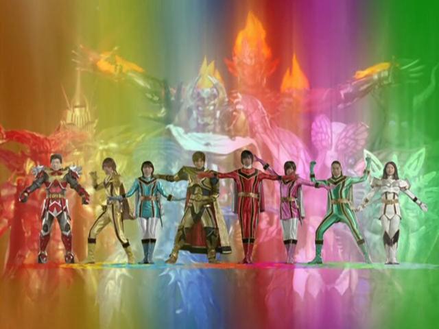 Tsutomu Isobe, Yuki Ito, Asami Kai, Yosuke Ichikawa, Hiroya Matsumoto, Ayumi Beppu, Azusa Watanabe, and Atsushi Hashimoto in Mahou sentai Magirenjâ (2005)
