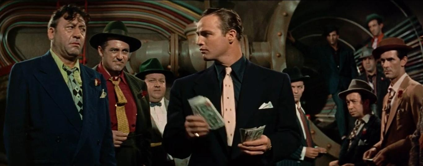 Marlon Brando, Frank Sinatra, Danny Dayton, Stubby Kaye, Robert Keith, Sheldon Leonard, B.S. Pully, Johnny Silver, George E. Stone, and Regis Toomey in Guys and Dolls (1955)