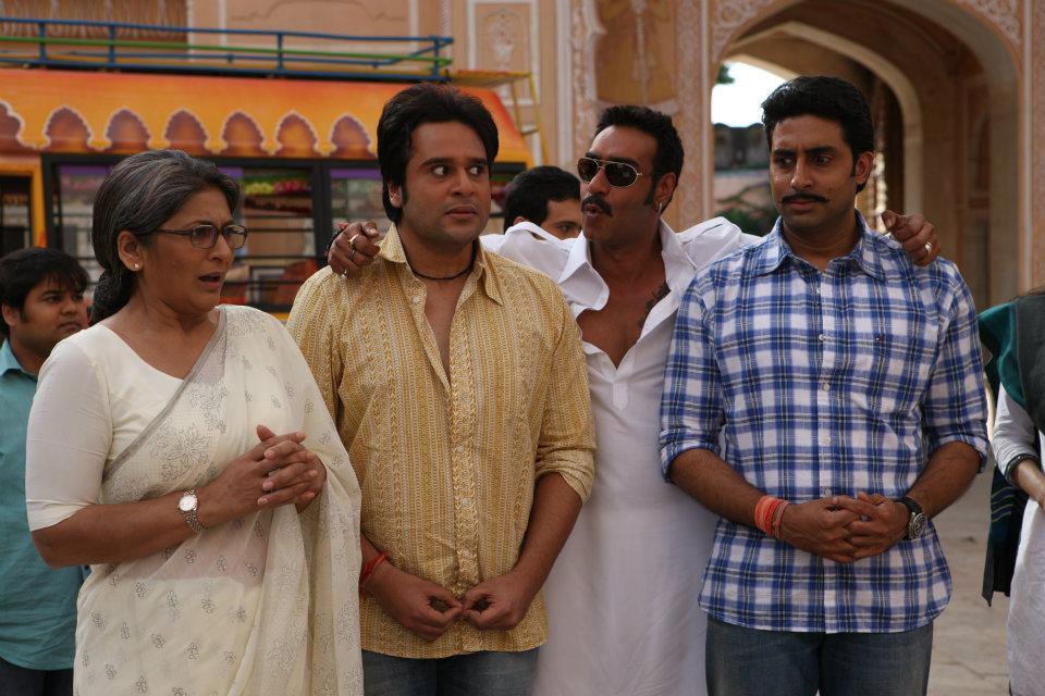 Abhishek Bachchan, Ajay Devgn, Archana Puran Singh, and Krishna Abhishek in Bol Bachchan (2012)