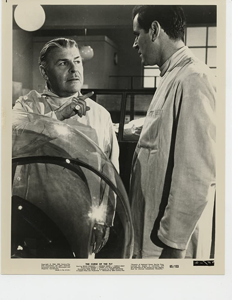 Brian Donlevy and George Baker in Curse of the Fly (1965)