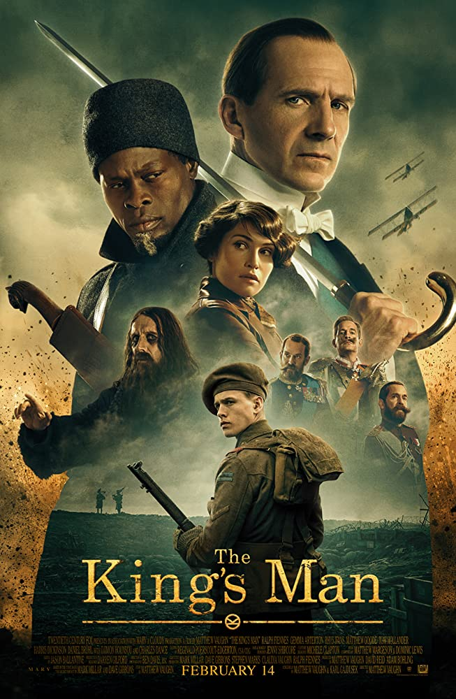 Ralph Fiennes, Djimon Hounsou, Tom Hollander, Rhys Ifans, Gemma Arterton, and Harris Dickinson in The King's Man (2020)
