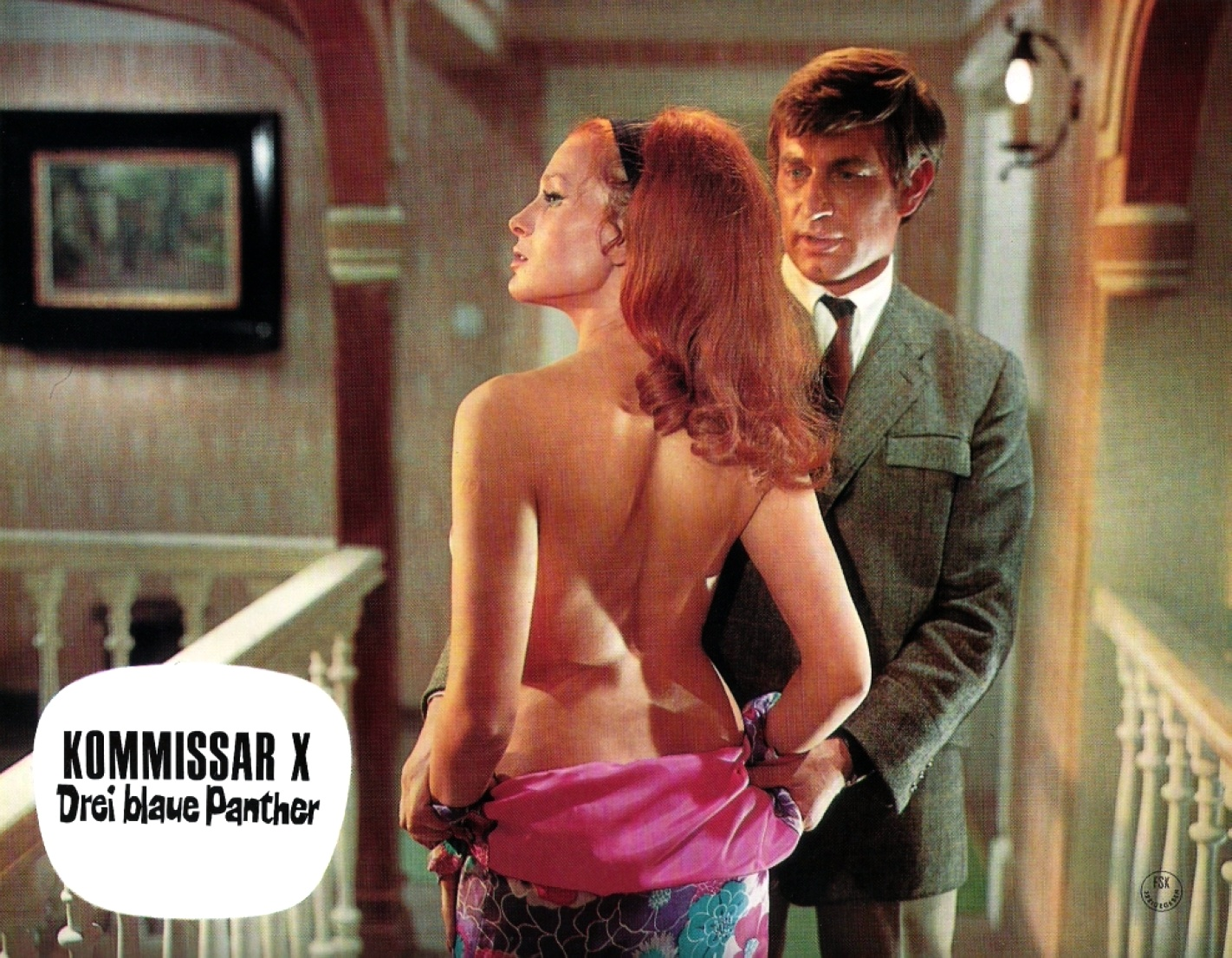 Erika Blanc and Tony Kendall in Kommissar X - Drei blaue Panther (1968)