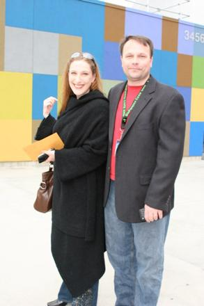 Bonnie Gillespie and Keith Johnson arriving at the BizParentz Foundation CARE Awards March 15, 2009.