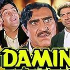 Sunny Deol, Rishi Kapoor, Amrish Puri, and Meenakshi Sheshadri in Damini (1993)