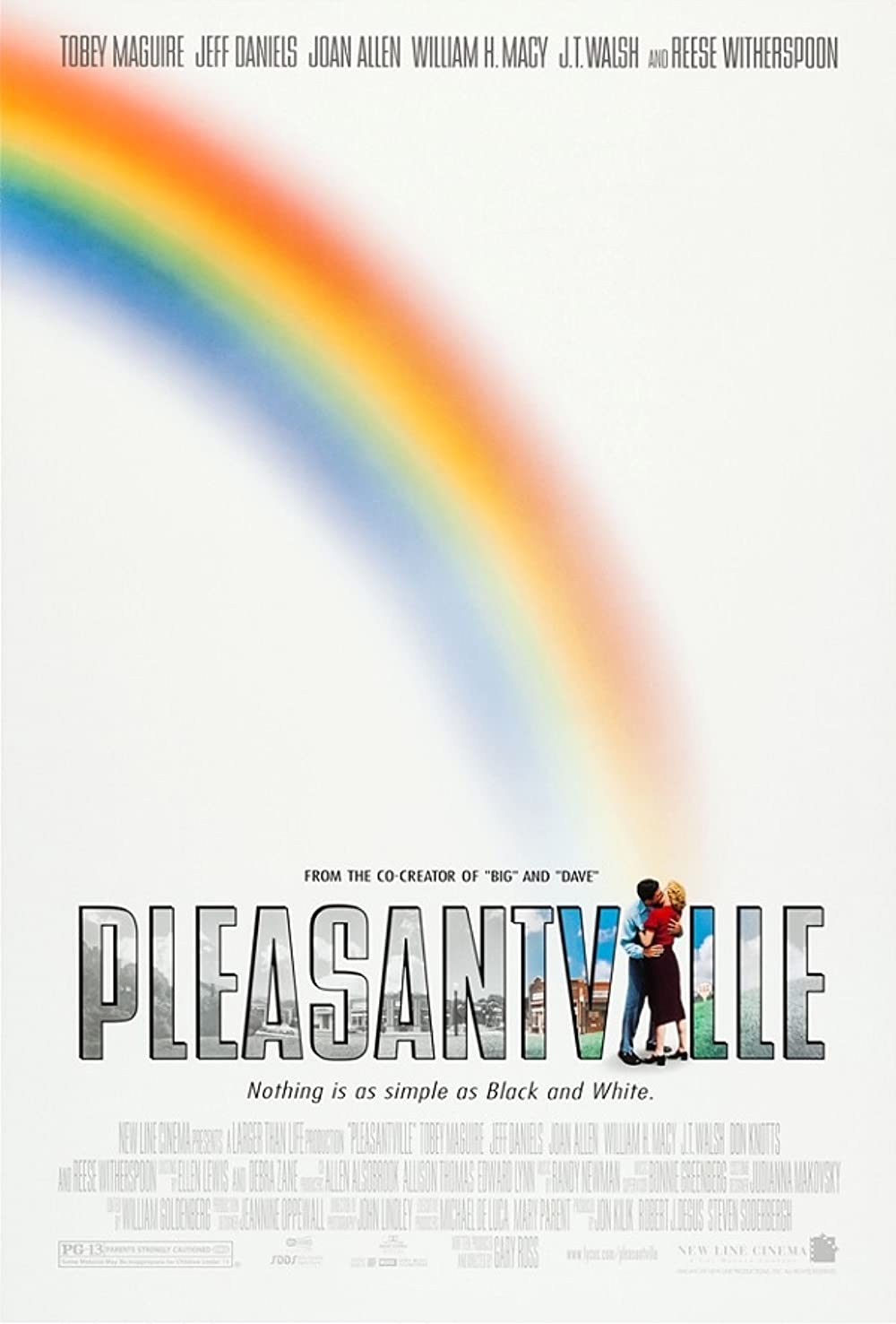 Pleasantville - Zu schön, um wahr zu sein: Directed by Gary Ross. With William H. Macy, Joan Allen, Natalie Ramsey, Kevin Connors. Two 1990s teenage siblings find themselves in a 1950s sitcom, where their influence begins to profoundly change that...