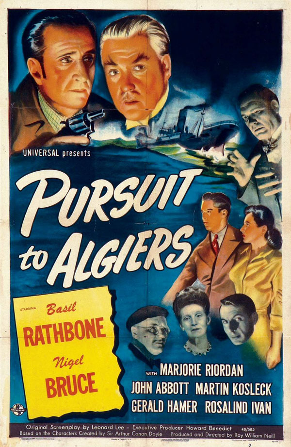 Basil Rathbone, Nigel Bruce, Rosalind Ivan, Martin Kosleck, Marjorie Riordan, and Leslie Vincent in Pursuit to Algiers (1945)