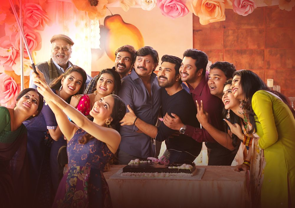 Chalapathi Rao, Prashanth, Sneha, Madhumitha, Aryan Rajesh, Ram Charan, Ravi Varma, Madhunandan, and Kiara Advani in Vinaya Vidheya Rama (2019)
