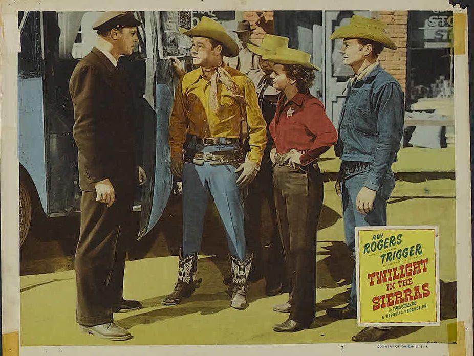 Roy Rogers, Pat Brady, Dale Evans, and Robert J. Wilke in Twilight in the Sierras (1950)